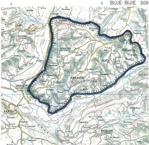 (SLIKA:) Območje morebitne naselitve Venetov iz Troje (morebitna slovenska Troada) med rekama in ob močvirskem lagunskem svetu (danes Sečoveljske soline, na sliki zahodno od prikazanega območja): del območja slovenske Istre vzhodno od pristanišča Koper. Omejeno ozemlje je bilo v tistem obdobju po vsej verjetnosti obkroženo z večjimi vodami (Atlas Slovenije, Pregledna karta 209 – Buje (Buie). Založba Mladinska knjiga in Geodetski zavod SRS, Ljubljana 1986.